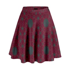 Blue Hot Pink Pattern With Woody Circles High Waist Skirt