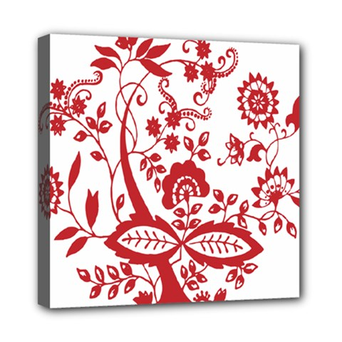 Red Vintage Floral Flowers Decorative Pattern Clipart Mini Canvas 8  X 8