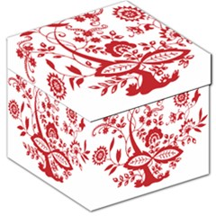 Red Vintage Floral Flowers Decorative Pattern Clipart Storage Stool 12