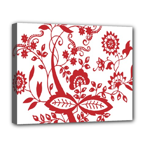 Red Vintage Floral Flowers Decorative Pattern Clipart Deluxe Canvas 20  X 16