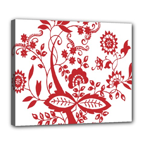 Red Vintage Floral Flowers Decorative Pattern Clipart Deluxe Canvas 24  X 20