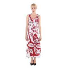 Red Vintage Floral Flowers Decorative Pattern Clipart Sleeveless Maxi Dress