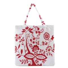 Red Vintage Floral Flowers Decorative Pattern Clipart Grocery Tote Bag