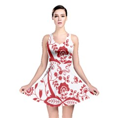 Red Vintage Floral Flowers Decorative Pattern Clipart Reversible Skater Dress