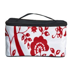 Red Vintage Floral Flowers Decorative Pattern Clipart Cosmetic Storage Case