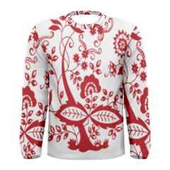 Red Vintage Floral Flowers Decorative Pattern Clipart Men s Long Sleeve Tee