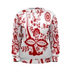Red Vintage Floral Flowers Decorative Pattern Clipart Women s Sweatshirt