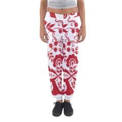 Red Vintage Floral Flowers Decorative Pattern Clipart Women s Jogger Sweatpants