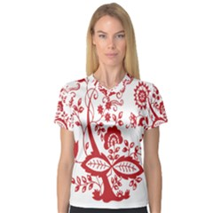 Red Vintage Floral Flowers Decorative Pattern Clipart Women s V-Neck Sport Mesh Tee
