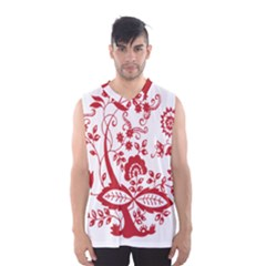 Red Vintage Floral Flowers Decorative Pattern Clipart Men s Basketball Tank Top
