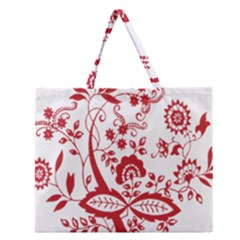 Red Vintage Floral Flowers Decorative Pattern Clipart Zipper Large Tote Bag