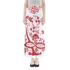 Red Vintage Floral Flowers Decorative Pattern Clipart Maxi Skirts