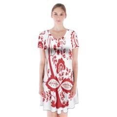 Red Vintage Floral Flowers Decorative Pattern Clipart Short Sleeve V-neck Flare Dress