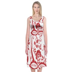 Red Vintage Floral Flowers Decorative Pattern Clipart Midi Sleeveless Dress