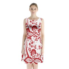 Red Vintage Floral Flowers Decorative Pattern Clipart Sleeveless Chiffon Waist Tie Dress