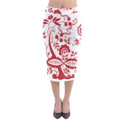 Red Vintage Floral Flowers Decorative Pattern Clipart Midi Pencil Skirt