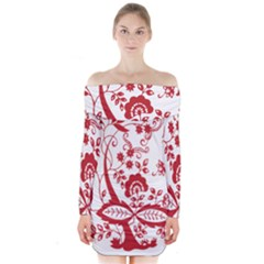 Red Vintage Floral Flowers Decorative Pattern Clipart Long Sleeve Off Shoulder Dress