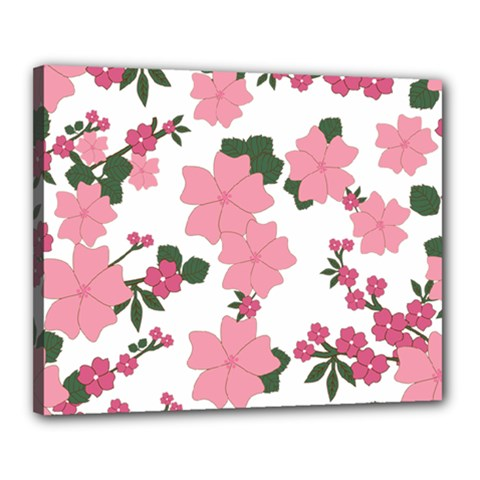 Vintage Floral Wallpaper Background In Shades Of Pink Canvas 20  x 16