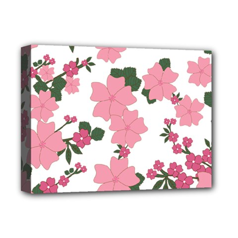 Vintage Floral Wallpaper Background In Shades Of Pink Deluxe Canvas 16  x 12