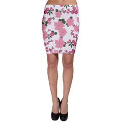 Vintage Floral Wallpaper Background In Shades Of Pink Bodycon Skirt