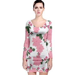 Vintage Floral Wallpaper Background In Shades Of Pink Long Sleeve Bodycon Dress