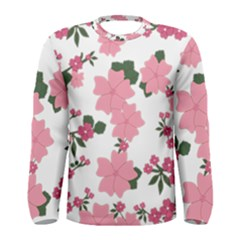Vintage Floral Wallpaper Background In Shades Of Pink Men s Long Sleeve Tee