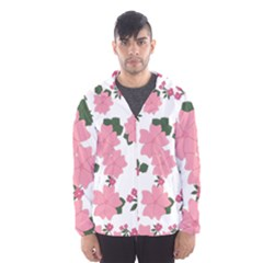 Vintage Floral Wallpaper Background In Shades Of Pink Hooded Wind Breaker (Men)