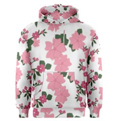 Vintage Floral Wallpaper Background In Shades Of Pink Men s Pullover Hoodie