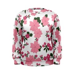 Vintage Floral Wallpaper Background In Shades Of Pink Women s Sweatshirt