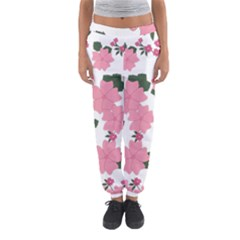 Vintage Floral Wallpaper Background In Shades Of Pink Women s Jogger Sweatpants