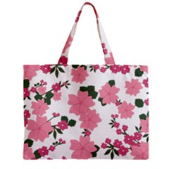 Vintage Floral Wallpaper Background In Shades Of Pink Zipper Mini Tote Bag