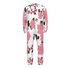Vintage Floral Wallpaper Background In Shades Of Pink OnePiece Jumpsuit (Kids)