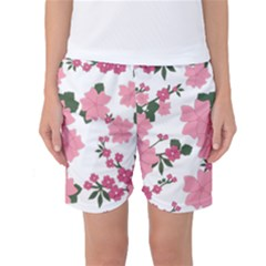 Vintage Floral Wallpaper Background In Shades Of Pink Women s Basketball Shorts
