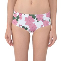 Vintage Floral Wallpaper Background In Shades Of Pink Mid Waist Bikini Bottoms
