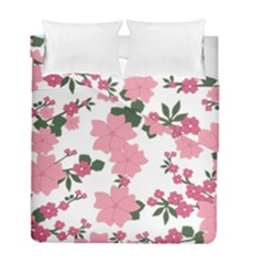 Vintage Floral Wallpaper Background In Shades Of Pink Duvet Cover Double Side (full/ Double Size)