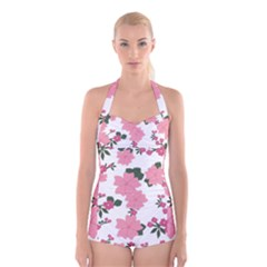 Vintage Floral Wallpaper Background In Shades Of Pink Boyleg Halter Swimsuit