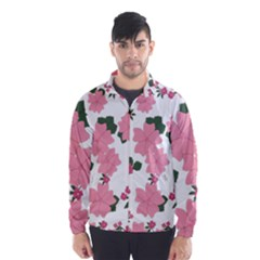 Vintage Floral Wallpaper Background In Shades Of Pink Wind Breaker (men)