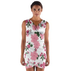 Vintage Floral Wallpaper Background In Shades Of Pink Wrap Front Bodycon Dress