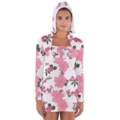 Vintage Floral Wallpaper Background In Shades Of Pink Women s Long Sleeve Hooded T Shirt