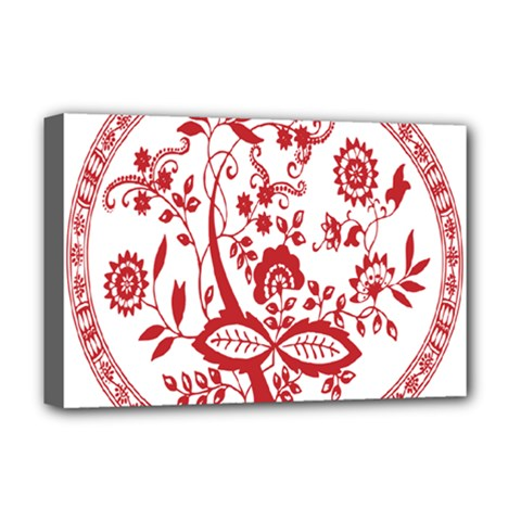 Red Vintage Floral Flowers Decorative Pattern Deluxe Canvas 18  X 12
