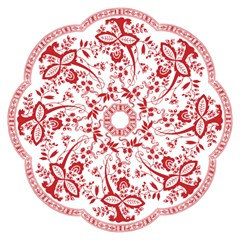 Red Vintage Floral Flowers Decorative Pattern Hook Handle Umbrellas (Medium)