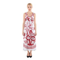 Red Vintage Floral Flowers Decorative Pattern Sleeveless Maxi Dress