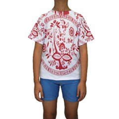 Red Vintage Floral Flowers Decorative Pattern Kids  Short Sleeve Swimwear