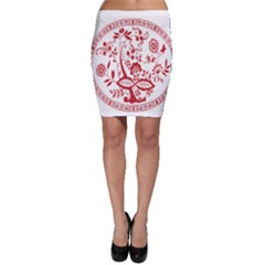 Red Vintage Floral Flowers Decorative Pattern Bodycon Skirt