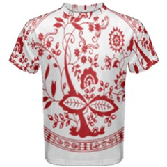 Red Vintage Floral Flowers Decorative Pattern Men s Cotton Tee