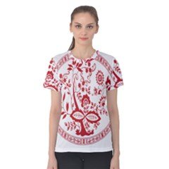 Red Vintage Floral Flowers Decorative Pattern Women s Cotton Tee