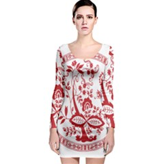 Red Vintage Floral Flowers Decorative Pattern Long Sleeve Bodycon Dress