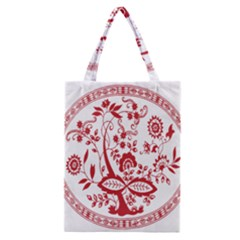 Red Vintage Floral Flowers Decorative Pattern Classic Tote Bag