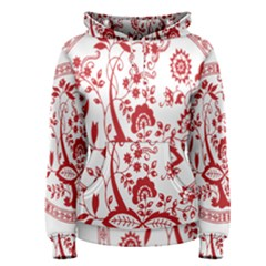 Red Vintage Floral Flowers Decorative Pattern Women s Pullover Hoodie
