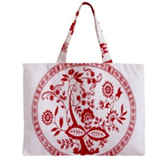 Red Vintage Floral Flowers Decorative Pattern Zipper Mini Tote Bag